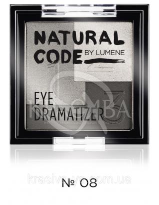 LU NC Eye Dramatizer - Тени тройные стойкие (08-серый, серебро, черный), 3,5 г : Lumene