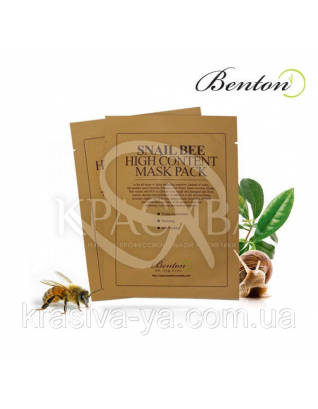 Snail Bee Hiqh Content Mask Benton - Маска з високим вмістом муцину равлики і бджолиною отрутою, 10*20 мл : Benton