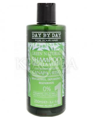 Шампунь для волосся із зеленою глиною протеїнами конопель і рису : Alan Jey