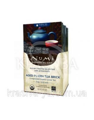 """NUMI Черный чай """" Пуэр """" / Aged Pu-erh Brick, 12 пакетиков : Органический чай"""