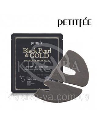 Гідрогелева маска з золотом і чорним перлами PETIDE Black Pearl&Gold Hydrogel Mask Pack, 5шт х 32г : PETITFEE