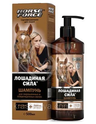 """Шампунь для фарбованого та пошкодженого волосся з колагеном і ланоліном """"Кінська сила"""", 500 мл : Horse Forse"""