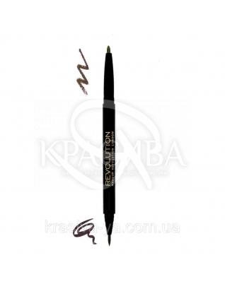 MUR Dual Brow - Двойной карандаш и лайнер для бровей моделирующий (Dark), 0.9*0.15 г : Makeup Revolution