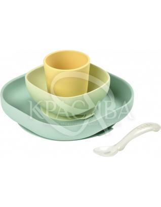 Набір силіконового посуду жовтий 4 предмета : Beaba