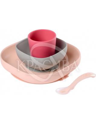 Набір силіконового посуду рожевий 4 предмета : Beaba