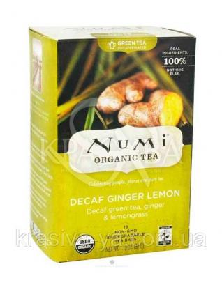 """NUMI Зеленый чай """" Лимонный имбирь """" ( без кофеина ) / Decaf Ginger Lemon, 16 пакетиков : Органический чай"""