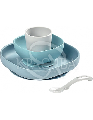 Набір силіконового посуду сіро - блакитний 4 предмета : Beaba