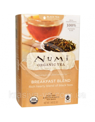 """NUMI Чорний чай """"До сніданку"""" / Breakfast Blend, 18 пакетиків :"""