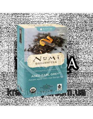 """NUMI Черный чай """" Старый граф Грей """" / Aged Earl Grey, 18 пакетиков : Органический чай"""