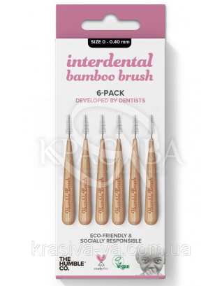Humble Бамбуковая щетка для межзубных промежутков 0.4 мм (розовый), 6  шт