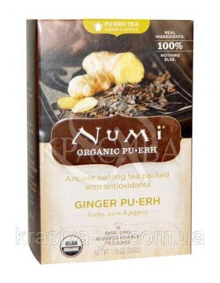"""NUMI Черный чай """" Имбирный пуэр """" / Ginger Pu-erh, 16 пакетиков : Органический чай"""