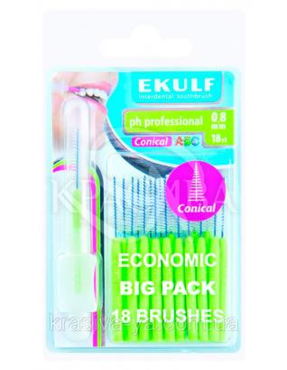 Щетки для межзубных промежутков конусные Ekulf Ph Professional 0.8 мм, 2 уп * 18 шт : Межзубная щетка