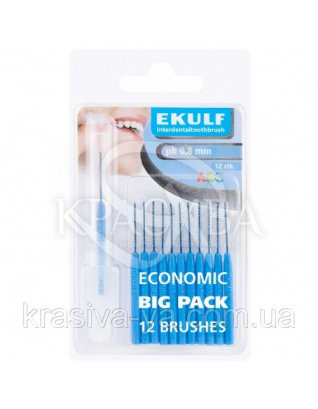 Щетки для межзубных промежутков Ekulf Ph 0,8 мм, 2 уп * 12 шт