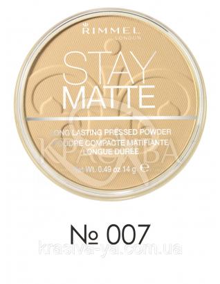 RM Stay Matte - Пудра компактная (007-темный бежевый), 14 г : Макияж для лица