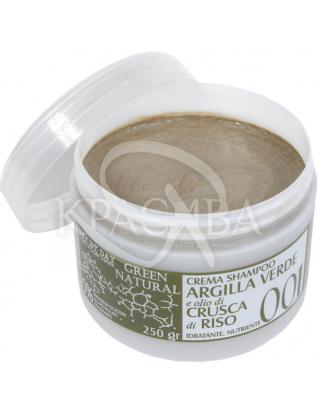 Крем-шампунь з зеленою глиною та олією рисових висівок : Alan Jey