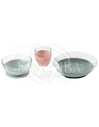 Набір скляного посуду рожево-сірий 3 предмета : Beaba