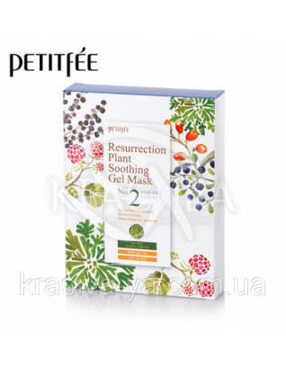 Зволожуюча маска для обличчя PETITFEE Resurrection Plant Soothing Gel Mask, 30г х 10шт : PETITFEE