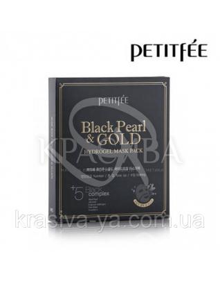 Гідрогелева маска з золотом і чорним перлами PETITFEE Black Pearl & Gold Hydrogel Mask Pack, 32г х 5шт : PETITFEE