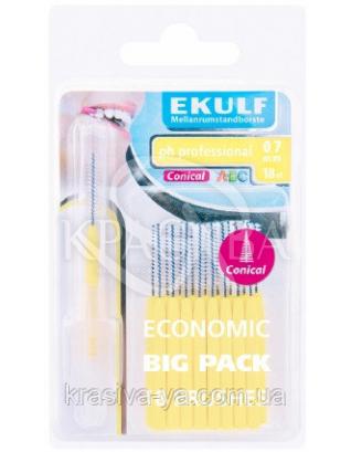 Щетки для межзубных промежутков конусные Ekulf Ph Professional 0.7 мм, 2 уп * 18 шт