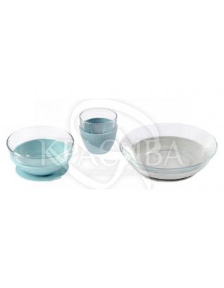 Набір скляного посуду блакитний 3 предмета : Beaba