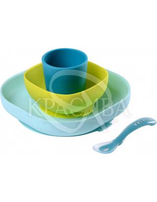 Набір силіконового посуду синій 4 предмета : Beaba