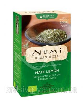 """NUMI Зеленый чай мате """" Мате лимон """" / Mate Lemon Green, 18 пакетиков : Органический чай"""