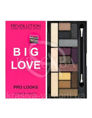 MUR Pro Looks - Палетка из 15 оттенков теней для 3-х образов (Big Love), 13 г : Makeup Revolution