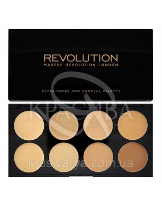 MUR Cover & Conceal - Палетка з 8 консилерів (Light Medium), 10 м : Makeup Revolution