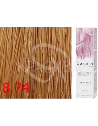 Cutrin Aurora Permanent Color - Аммиачная краска для волос 8.74 Карамель, 60 мл