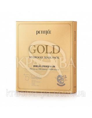 Гідрогелева маска для обличчя з золотомым комплексом +5 PETITFEE Gold Hydrogel Mask Pack +5 golden, 32г х 5 шт