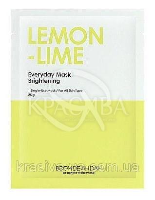 Очищаюча маска для обличчя з екстрактом лайма і лимона Boom De Ah Dah Everyday Mask Lemon-Lime, 10 шт * 25 г : Boom De Ah Dah