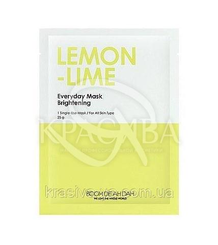 Очищаюча маска для обличчя з екстрактом лайма і лимона Boom De Ah Dah Everyday Mask Lemon-Lime, 10 шт * 25 г - 1