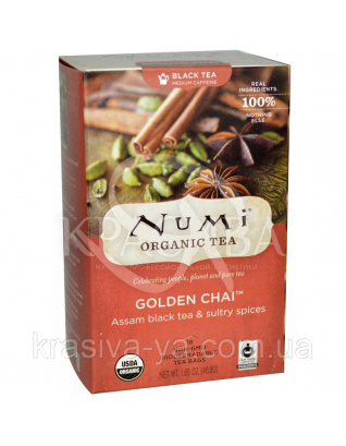 """NUMI Чай ассам с пряностями """" Золотой чай """" / Golden Chai, 18 пакетиков : Органический чай"""