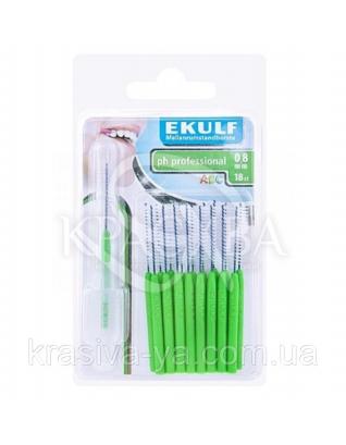 Щетки для межзубных промежутков Ekulf Ph Professional 0.8 мм, 2 уп * 18 шт : Межзубная щетка