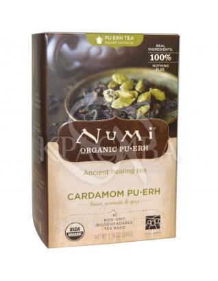 """NUMI Черный чай """" Пуэр с кардамоном """" / Cardamom Pu-erh, 16 пакетиков : Органический чай"""