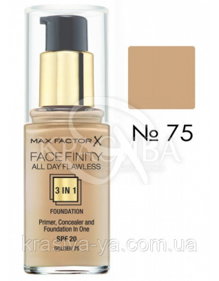 Facefinity All Day Flawless 3in1 - Тональная основа SPF 20 (75 - золотистый), 30 мл : Тональный крем